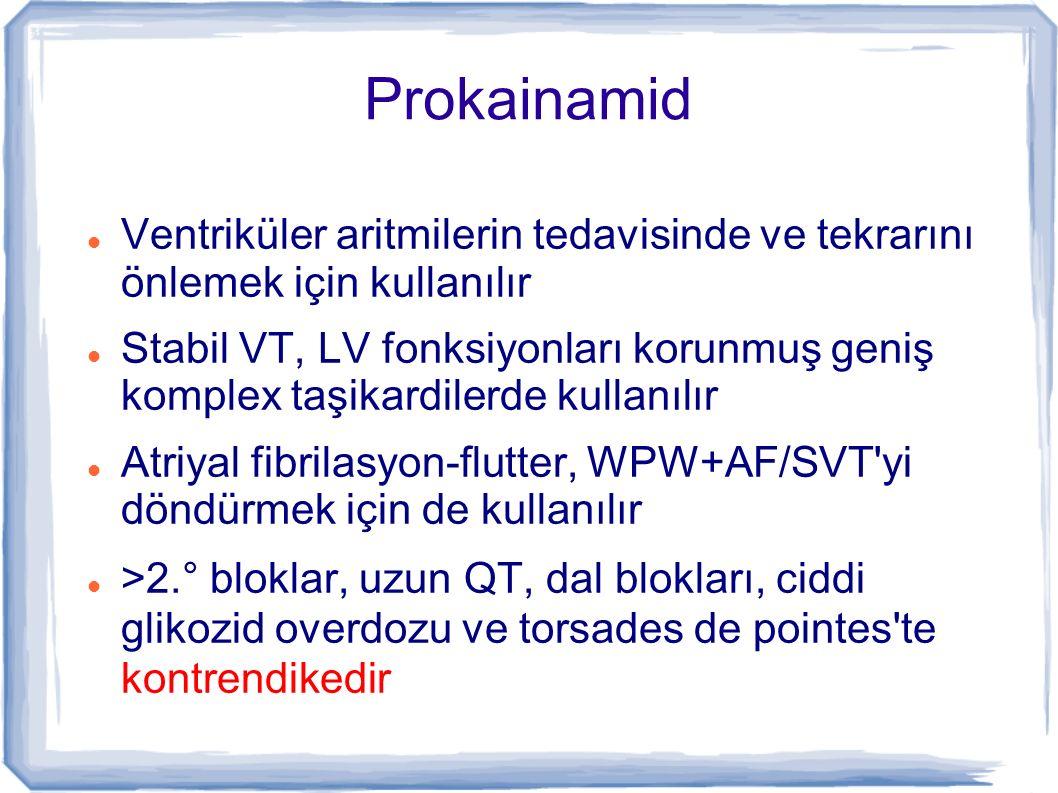 Prokainamid Ventriküler aritmilerin tedavisinde ve tekrarını önlemek için kullanılır.