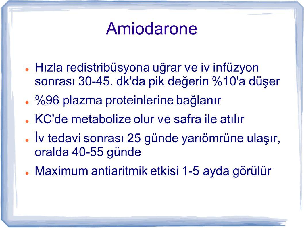 Amiodarone Hızla redistribüsyona uğrar ve iv infüzyon sonrası 30-45. dk da pik değerin %10 a düşer.