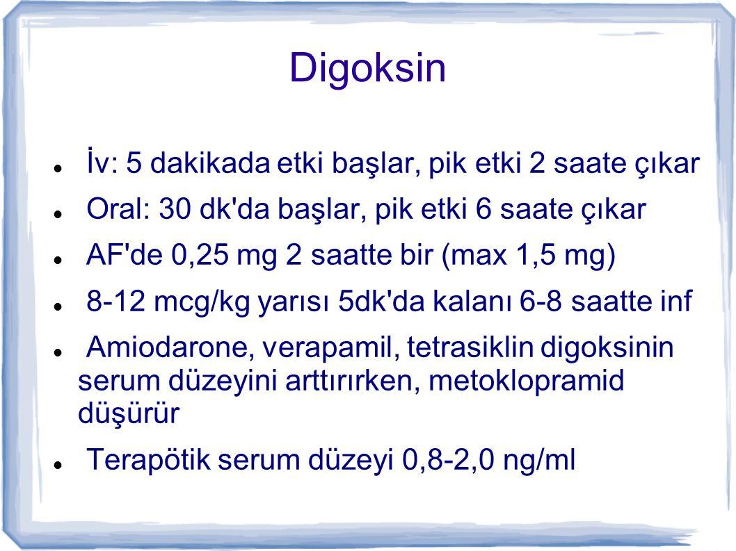 Digoksin İv: 5 dakikada etki başlar, pik etki 2 saate çıkar
