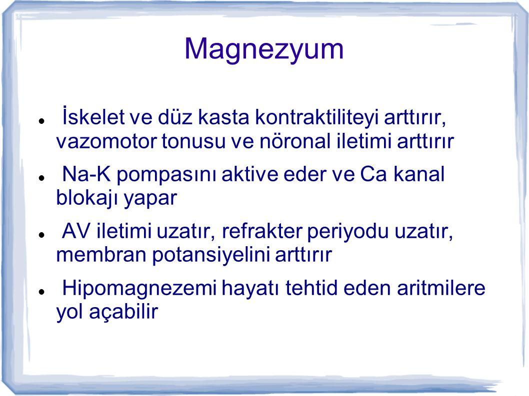 Magnezyum İskelet ve düz kasta kontraktiliteyi arttırır, vazomotor tonusu ve nöronal iletimi arttırır.