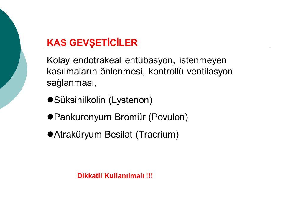 Süksinilkolin (Lystenon) Pankuronyum Bromür (Povulon)