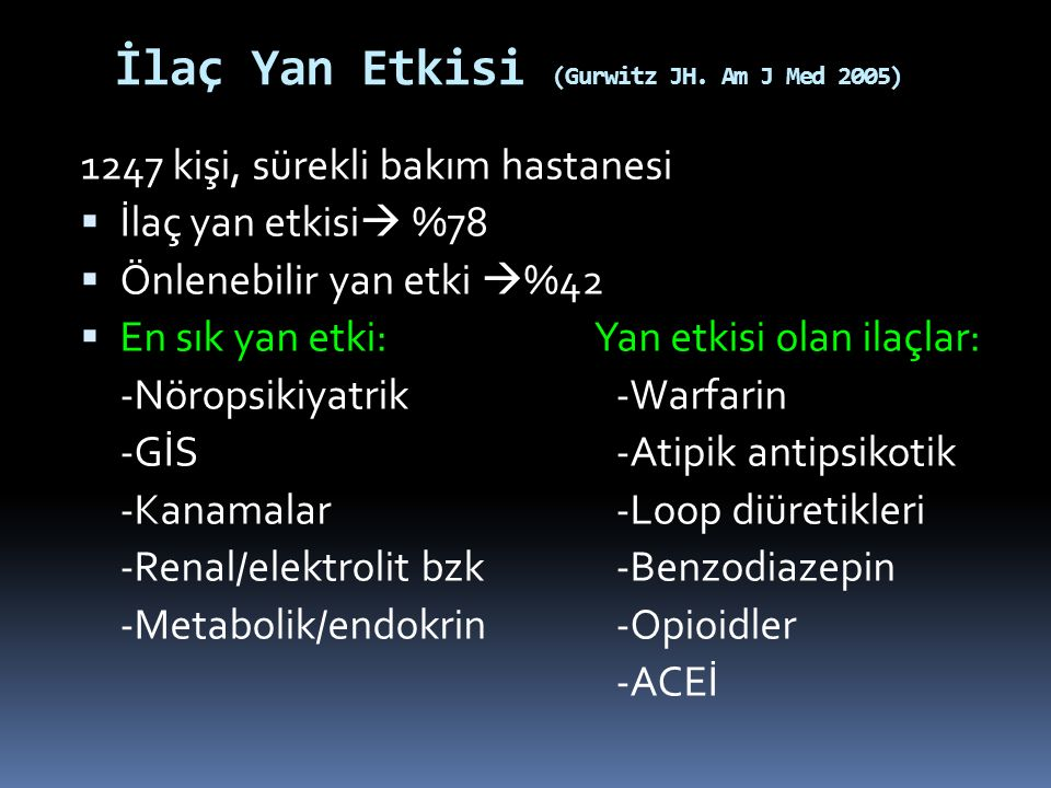 İlaç Yan Etkisi (Gurwitz JH. Am J Med 2005)