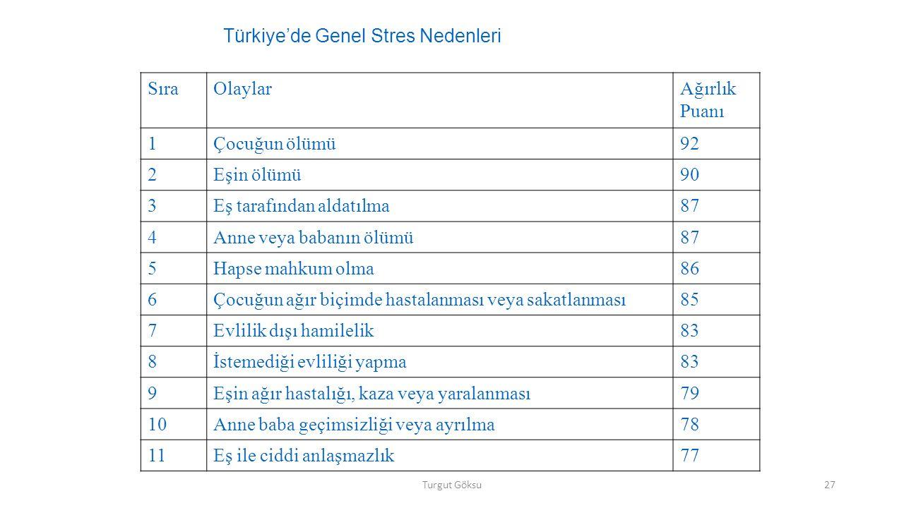 Türkiye'de Genel Stres Nedenleri Sıra Olaylar Ağırlık Puanı 1