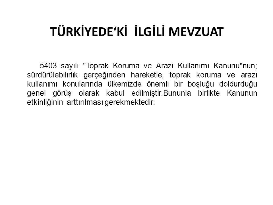 TÜRKİYEDE'Kİ İLGİLİ MEVZUAT