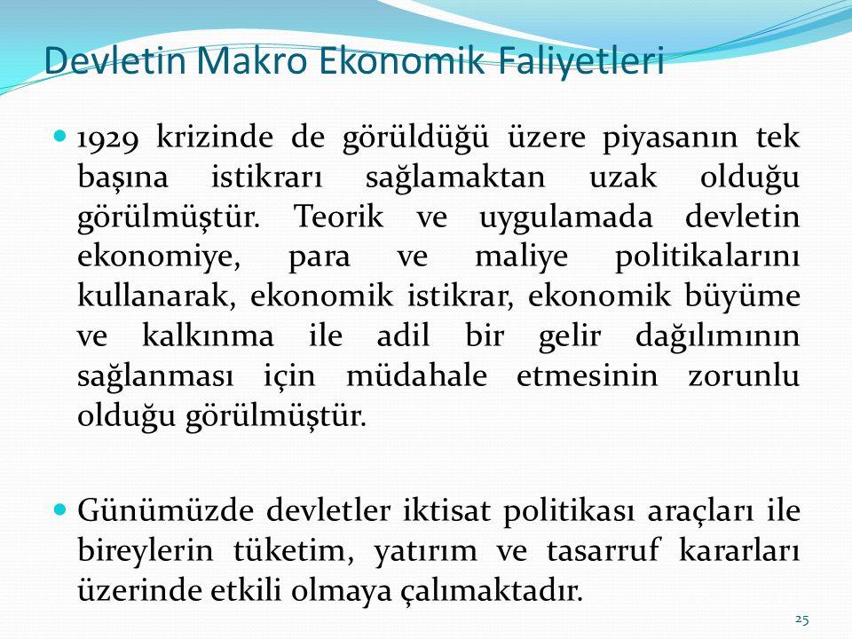 Devletin Makro Ekonomik Faliyetleri