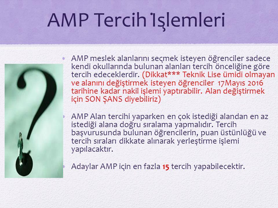 AMP Tercih İşlemleri