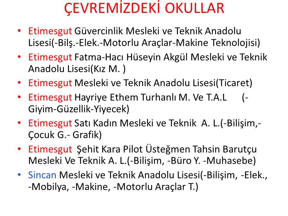 ÇEVREMİZDEKİ OKULLAR Etimesgut Güvercinlik Mesleki ve Teknik Anadolu Lisesi(-Bilş.-Elek.-Motorlu Araçlar-Makine Teknolojisi)