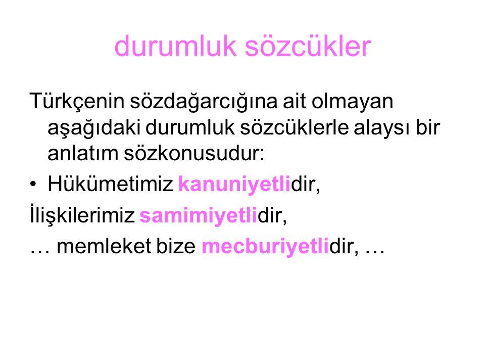 durumluk sözcükler Türkçenin sözdağarcığına ait olmayan aşağıdaki durumluk sözcüklerle alaysı bir anlatım sözkonusudur: