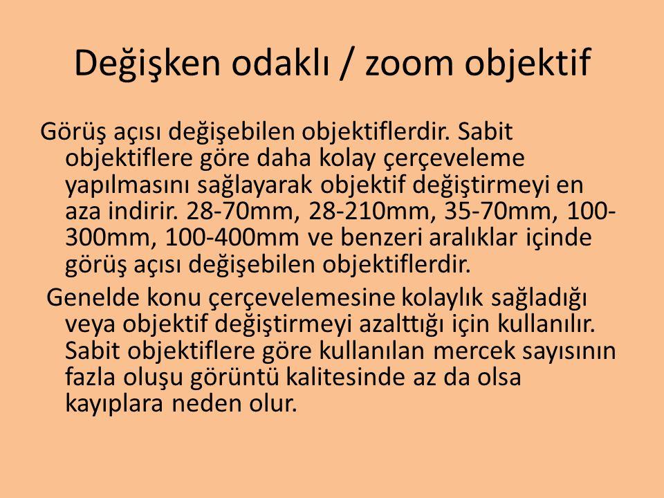 Değişken odaklı / zoom objektif