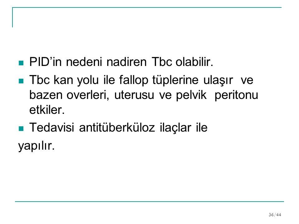 PID'in nedeni nadiren Tbc olabilir.