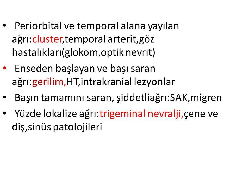 Periorbital ve temporal alana yayılan ağrı:cluster,temporal arterit,göz hastalıkları(glokom,optik nevrit)