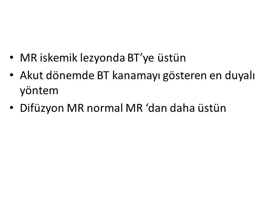 MR iskemik lezyonda BT'ye üstün