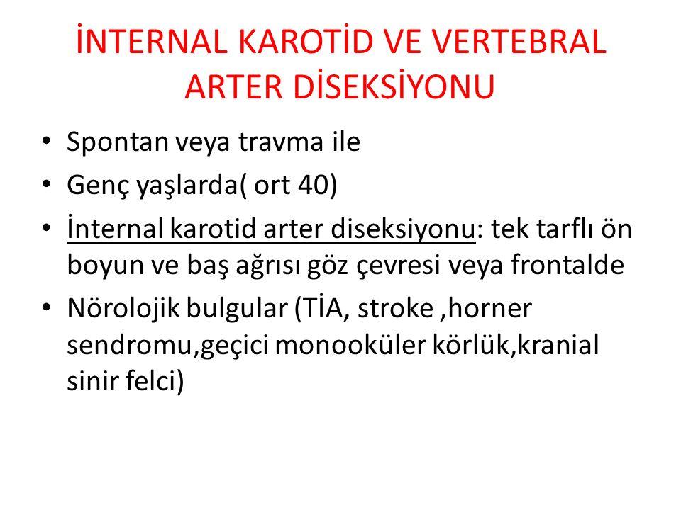 İNTERNAL KAROTİD VE VERTEBRAL ARTER DİSEKSİYONU