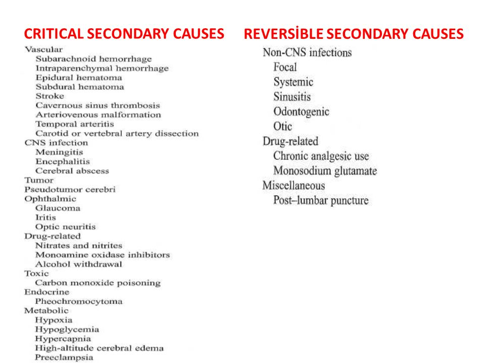 CRITICAL SECONDARY CAUSES