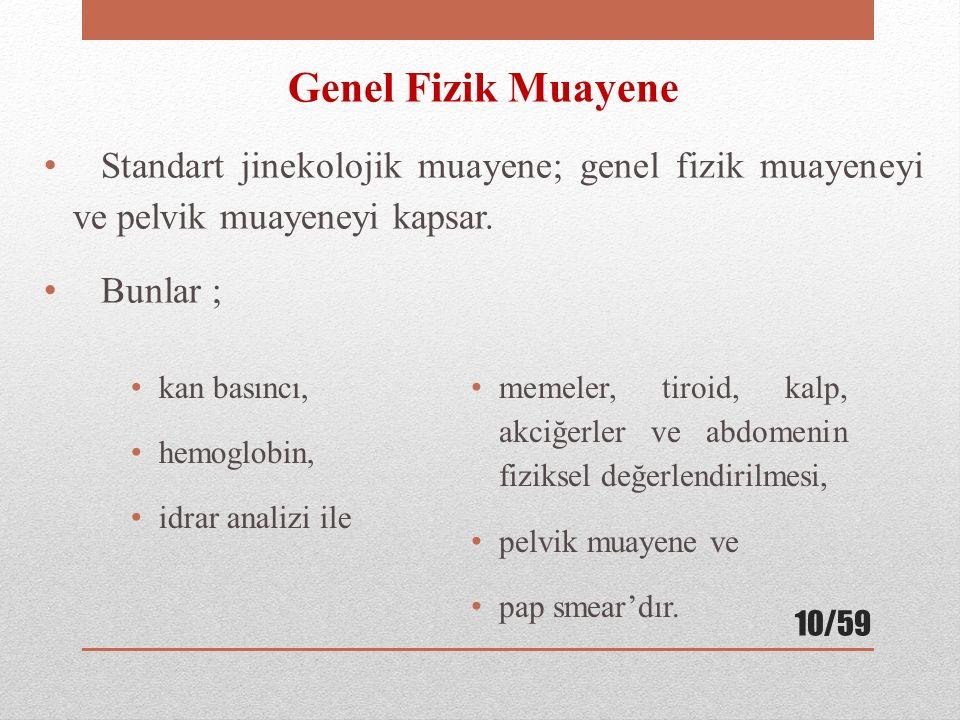 Genel Fizik Muayene Standart jinekolojik muayene; genel fizik muayeneyi ve pelvik muayeneyi kapsar.