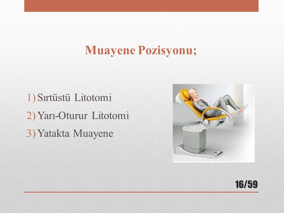 Muayene Pozisyonu; Sırtüstü Litotomi Yarı-Oturur Litotomi