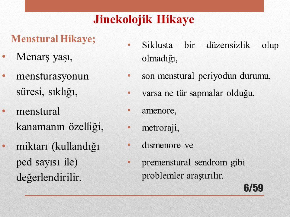 Jinekolojik Hikaye Menarş yaşı, mensturasyonun süresi, sıklığı,