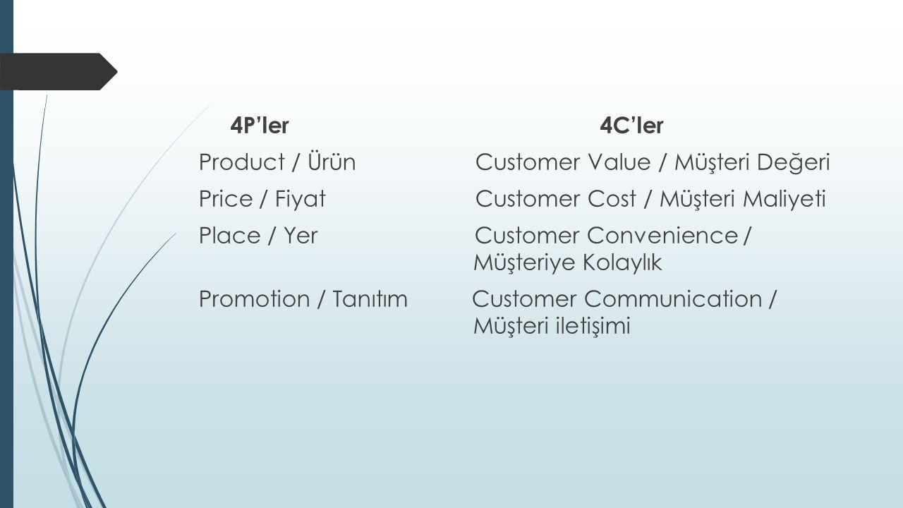 4P'ler 4C'ler Product / Ürün Customer Value / Müşteri Değeri Price / Fiyat Customer Cost / Müşteri Maliyeti Place / Yer Customer Convenience / Müşteriye Kolaylık Promotion / Tanıtım Customer Communication / Müşteri iletişimi