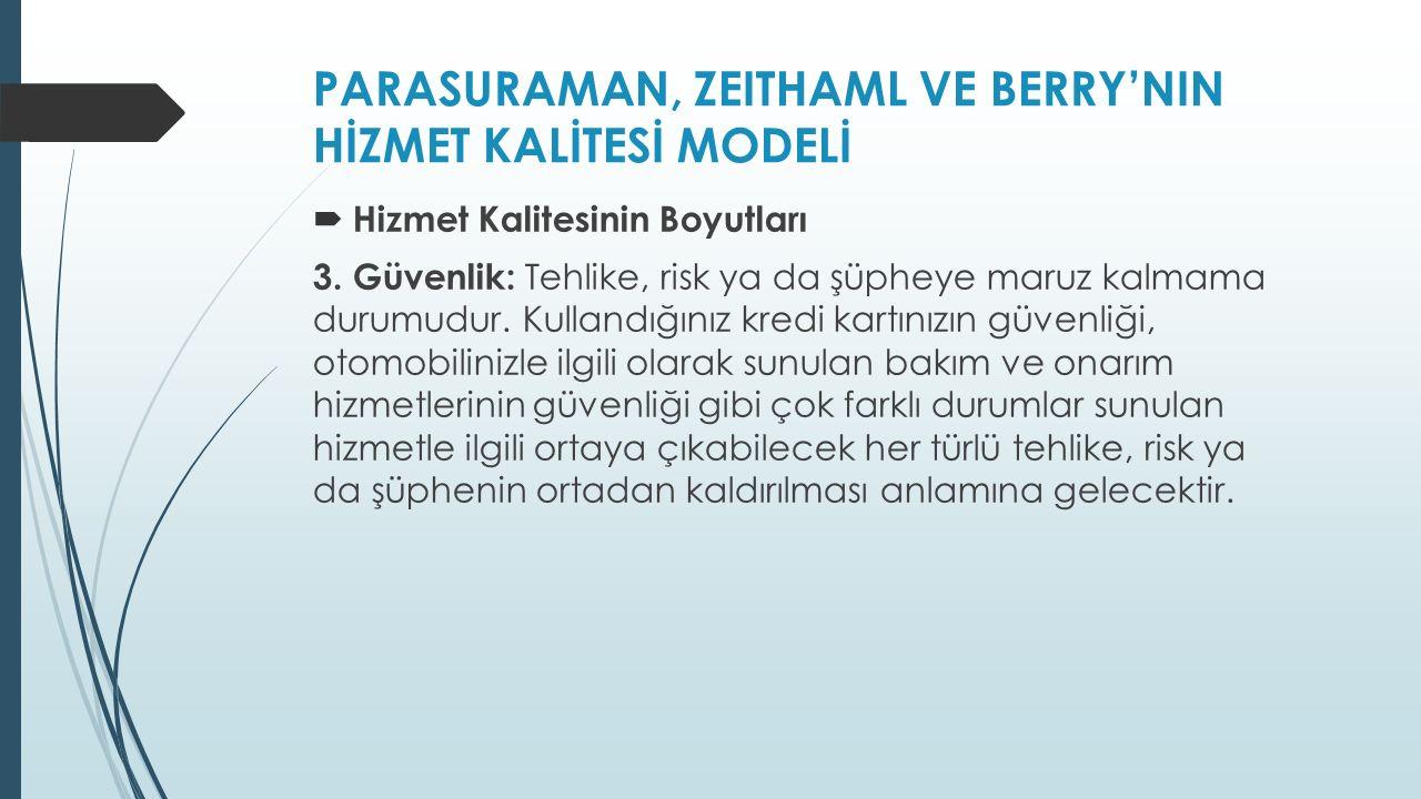 PARASURAMAN, ZEITHAML VE BERRY'NIN HİZMET KALİTESİ MODELİ