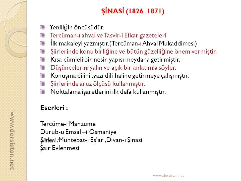 ŞİNASİ (1826_1871) www.dersistan.net