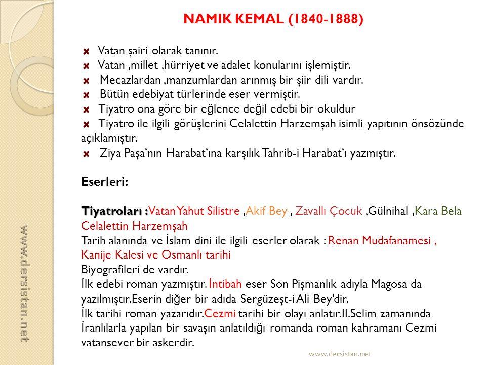 NAMIK KEMAL (1840-1888) www.dersistan.net