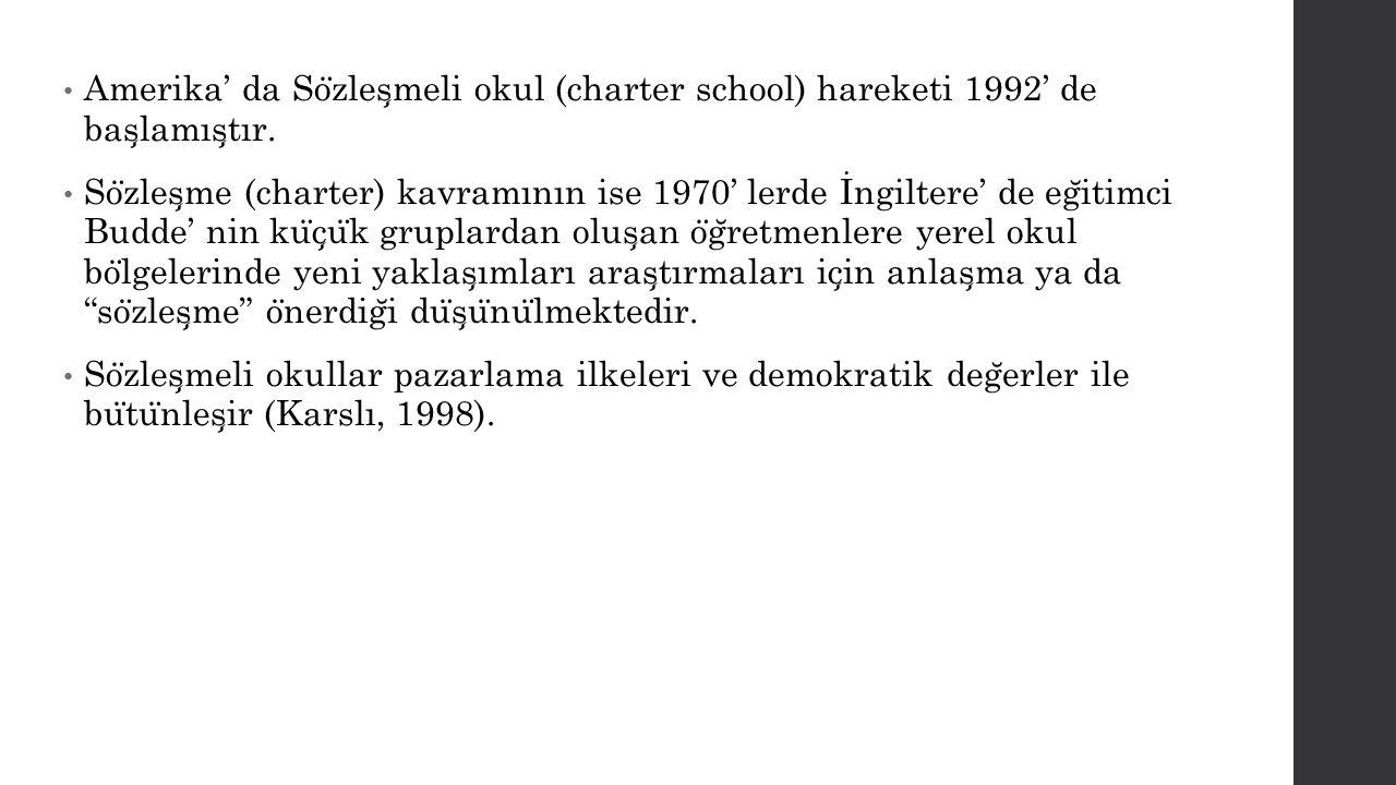 Amerika' da Sözleşmeli okul (charter school) hareketi 1992' de başlamıştır.