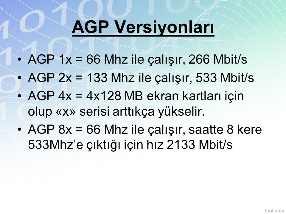 AGP Versiyonları AGP 1x = 66 Mhz ile çalışır, 266 Mbit/s