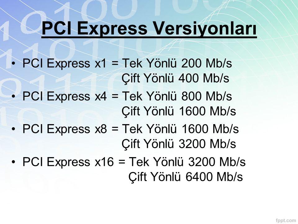 PCI Express Versiyonları