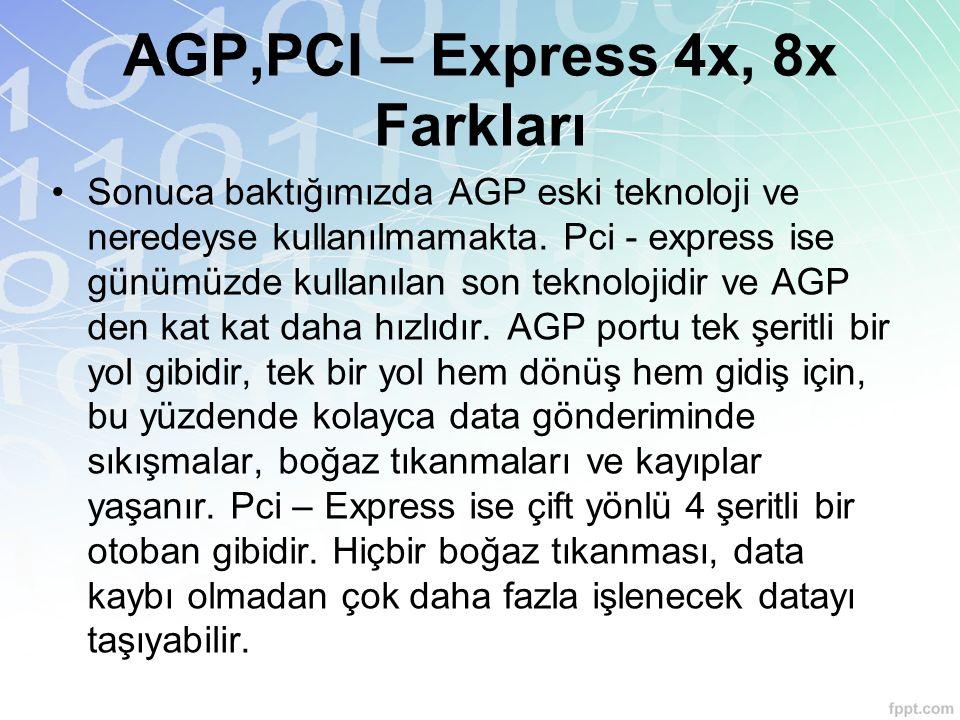 AGP,PCI – Express 4x, 8x Farkları