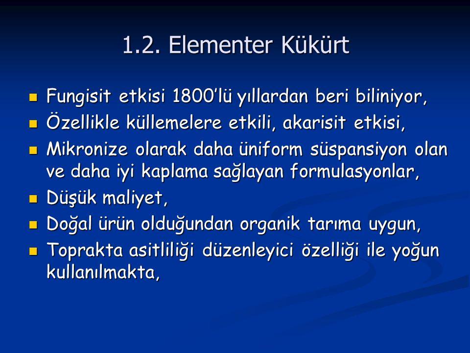1.2. Elementer Kükürt Fungisit etkisi 1800'lü yıllardan beri biliniyor, Özellikle küllemelere etkili, akarisit etkisi,