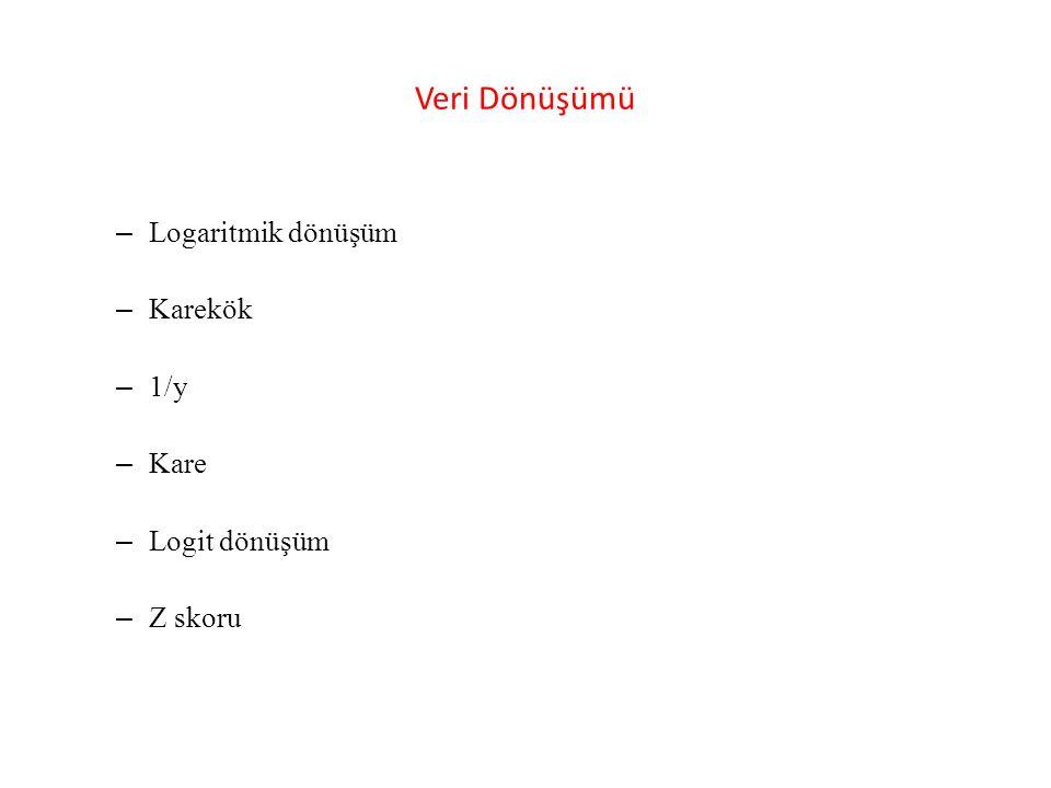 Veri Dönüşümü Logaritmik dönüşüm Karekök 1/y Kare Logit dönüşüm