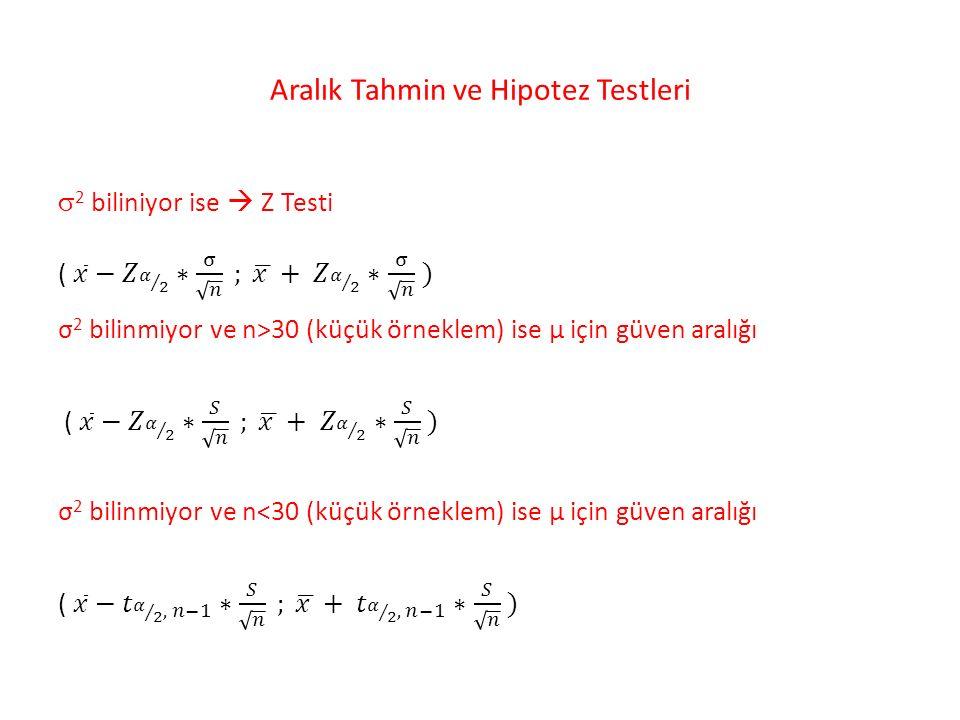 Aralık Tahmin ve Hipotez Testleri
