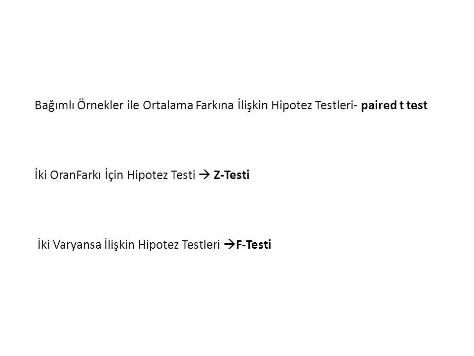 Bağımlı Örnekler ile Ortalama Farkına İlişkin Hipotez Testleri- paired t test
