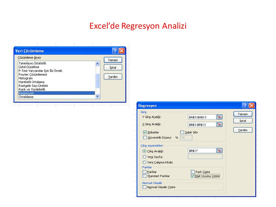Excel'de Regresyon Analizi