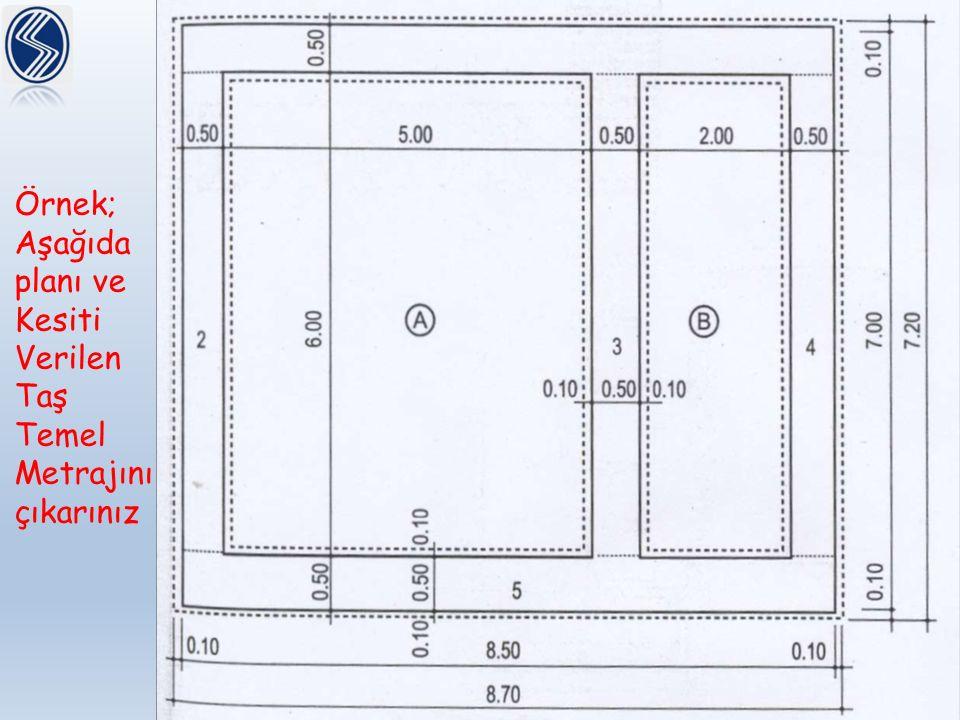 Örnek; Aşağıda planı ve Kesiti Verilen Taş Temel Metrajını çıkarınız