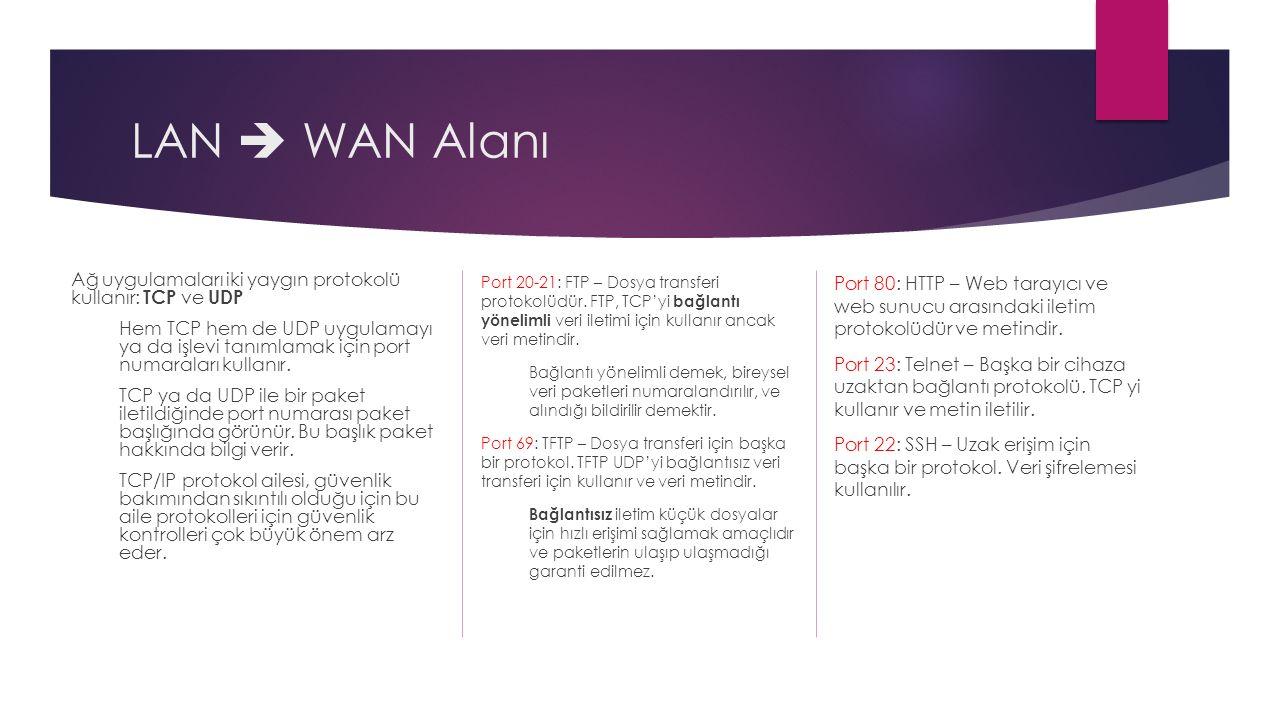 LAN  WAN Alanı Ağ uygulamaları iki yaygın protokolü kullanır: TCP ve UDP.