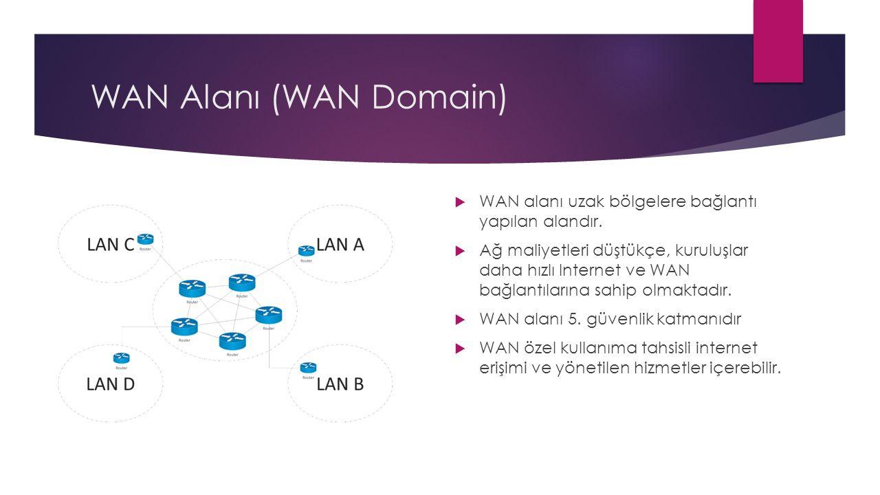 WAN Alanı (WAN Domain) WAN alanı uzak bölgelere bağlantı yapılan alandır.