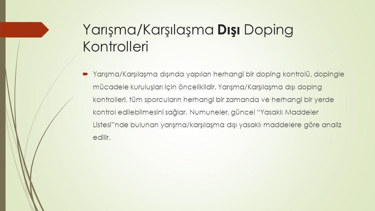 Yarışma/Karşılaşma Dışı Doping Kontrolleri