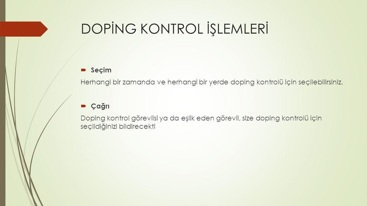 DOPİNG KONTROL İŞLEMLERİ