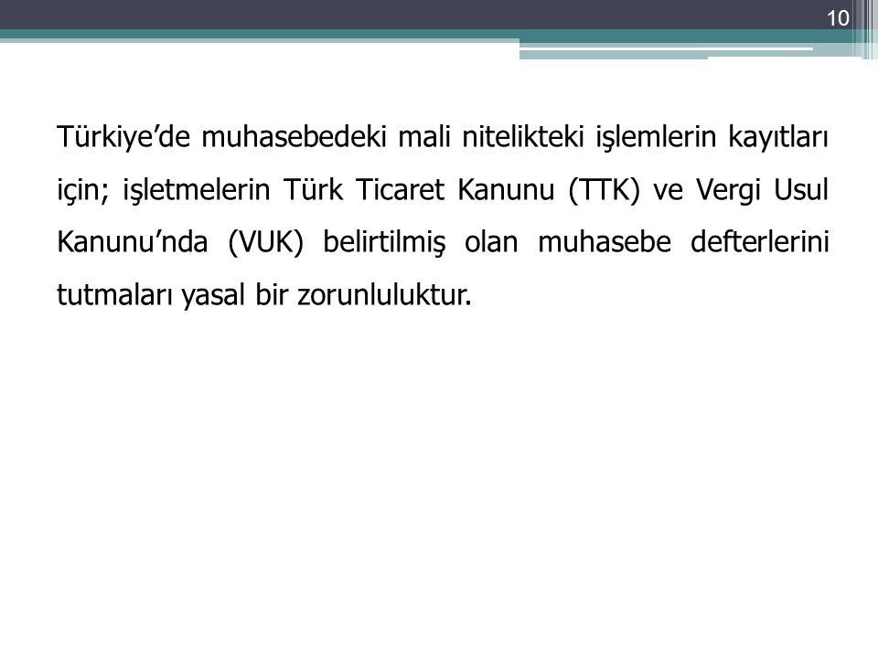 Türkiye'de muhasebedeki mali nitelikteki işlemlerin kayıtları için; işletmelerin Türk Ticaret Kanunu (TTK) ve Vergi Usul Kanunu'nda (VUK) belirtilmiş olan muhasebe defterlerini tutmaları yasal bir zorunluluktur.