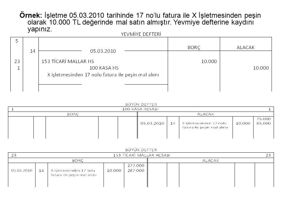Örnek: İşletme 05.03.2010 tarihinde 17 no'lu fatura ile X İşletmesinden peşin olarak 10.000 TL değerinde mal satın almıştır.