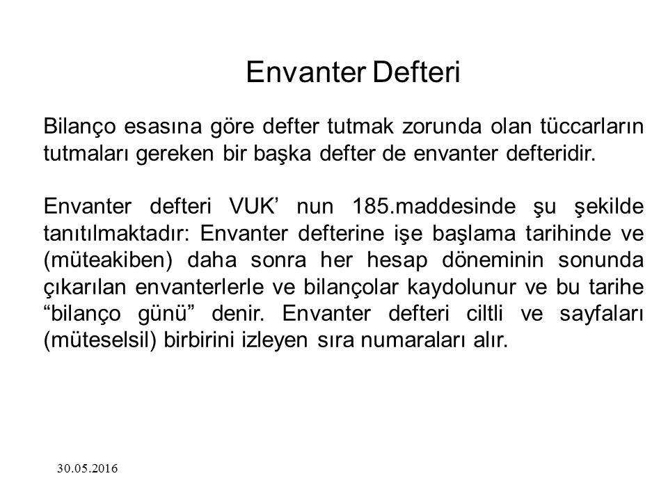Envanter Defteri Bilanço esasına göre defter tutmak zorunda olan tüccarların tutmaları gereken bir başka defter de envanter defteridir.