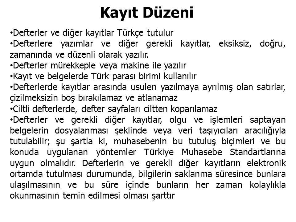 Kayıt Düzeni Defterler ve diğer kayıtlar Türkçe tutulur