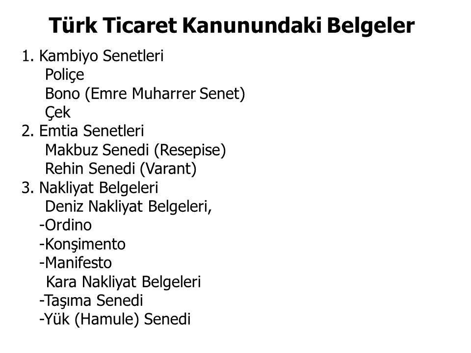 Türk Ticaret Kanunundaki Belgeler