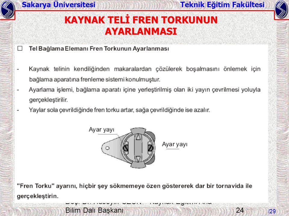 KAYNAK TELİ FREN TORKUNUN AYARLANMASI