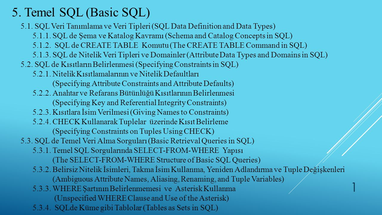 5. Temel SQL (Basic SQL) 5.1. SQL Veri Tanımlama ve Veri Tipleri (SQL Data Definition and Data Types)