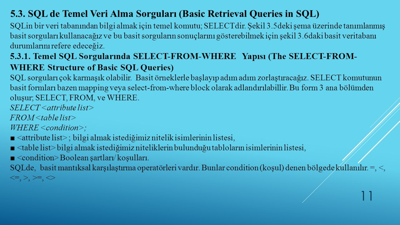 5.3. SQL de Temel Veri Alma Sorguları (Basic Retrieval Queries in SQL)