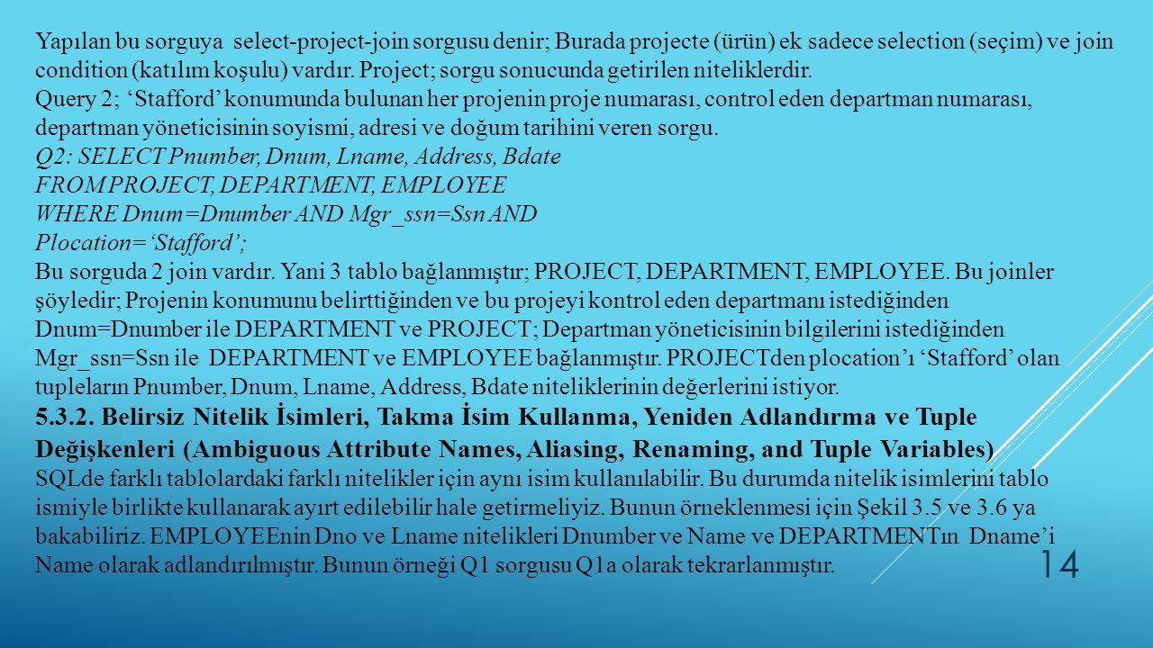 Yapılan bu sorguya select-project-join sorgusu denir; Burada projecte (ürün) ek sadece selection (seçim) ve join condition (katılım koşulu) vardır. Project; sorgu sonucunda getirilen niteliklerdir.