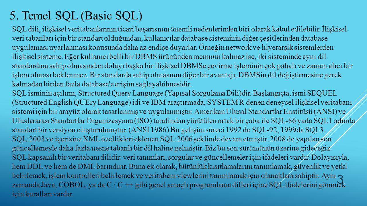 5. Temel SQL (Basic SQL)