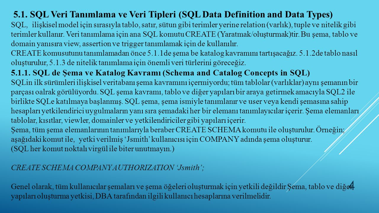 5.1. SQL Veri Tanımlama ve Veri Tipleri (SQL Data Definition and Data Types)